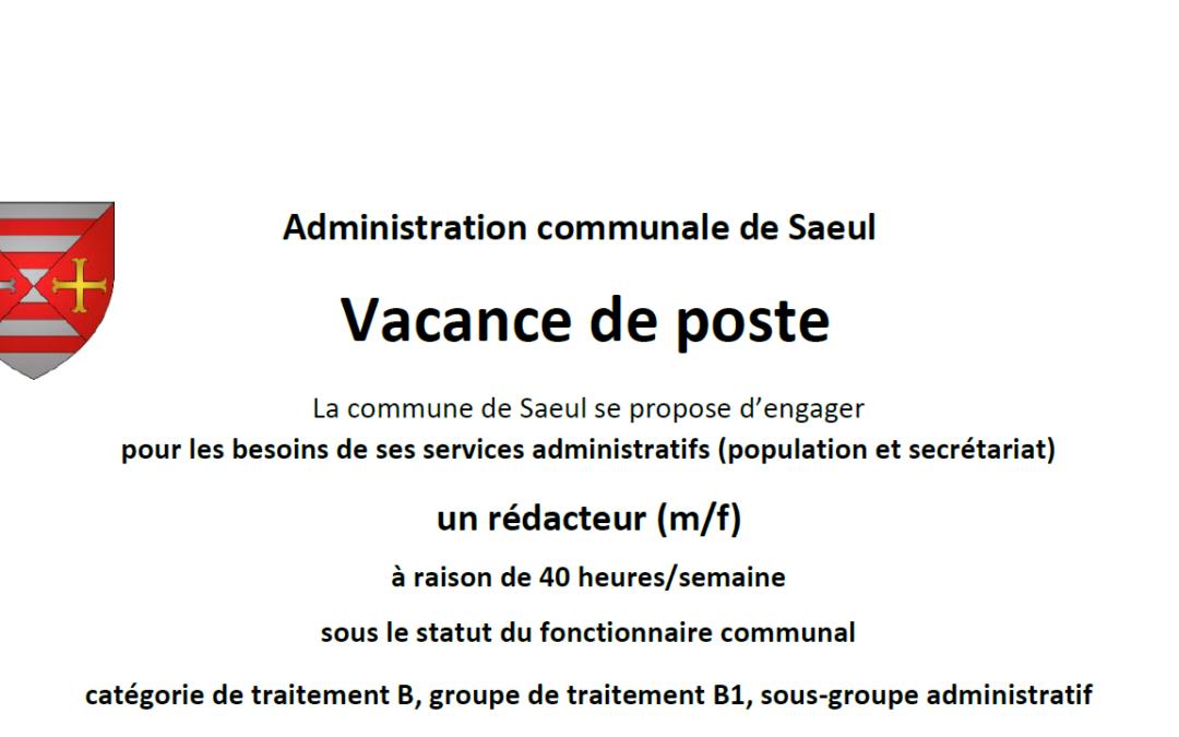 Vacance de poste – rédacteur communal services administratifs